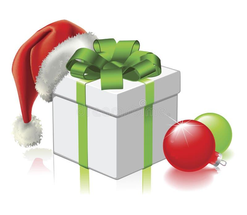 Regalo de la Navidad con el sombrero y las chucherías de Santa ilustración del vector