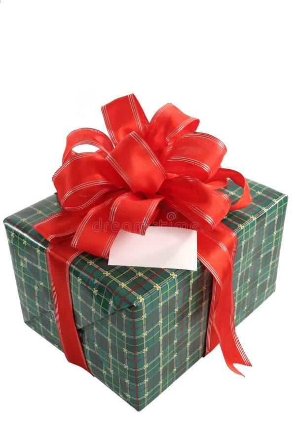 Regalo de la Navidad con la tarjeta fotos de archivo libres de regalías