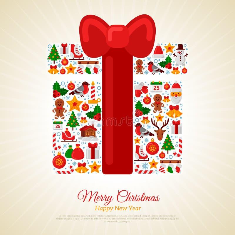 Regalo de la Navidad montado de iconos con el arco rojo de la cinta ilustración del vector