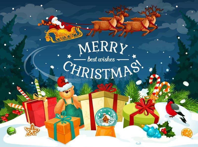 Regalo de la Navidad y tarjeta de felicitación del trineo de Papá Noel libre illustration