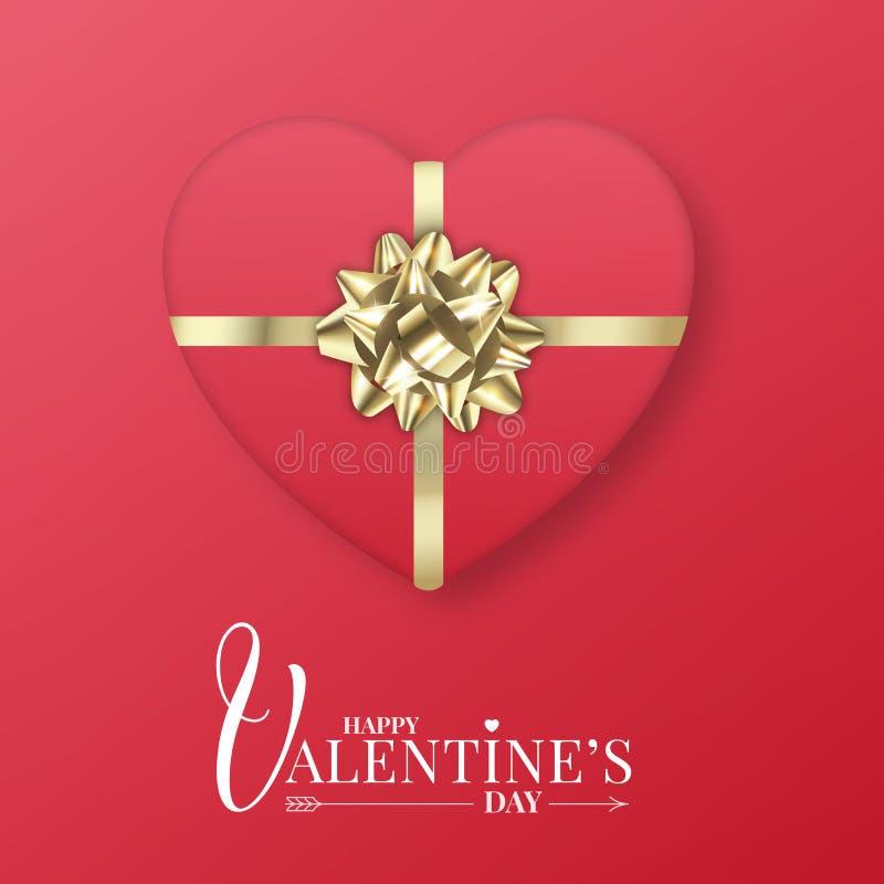 regalo de las tarjetas del día de San Valentín Paquete rojo realista con el arco metálico del oro Tarjeta del día de tarjetas del libre illustration