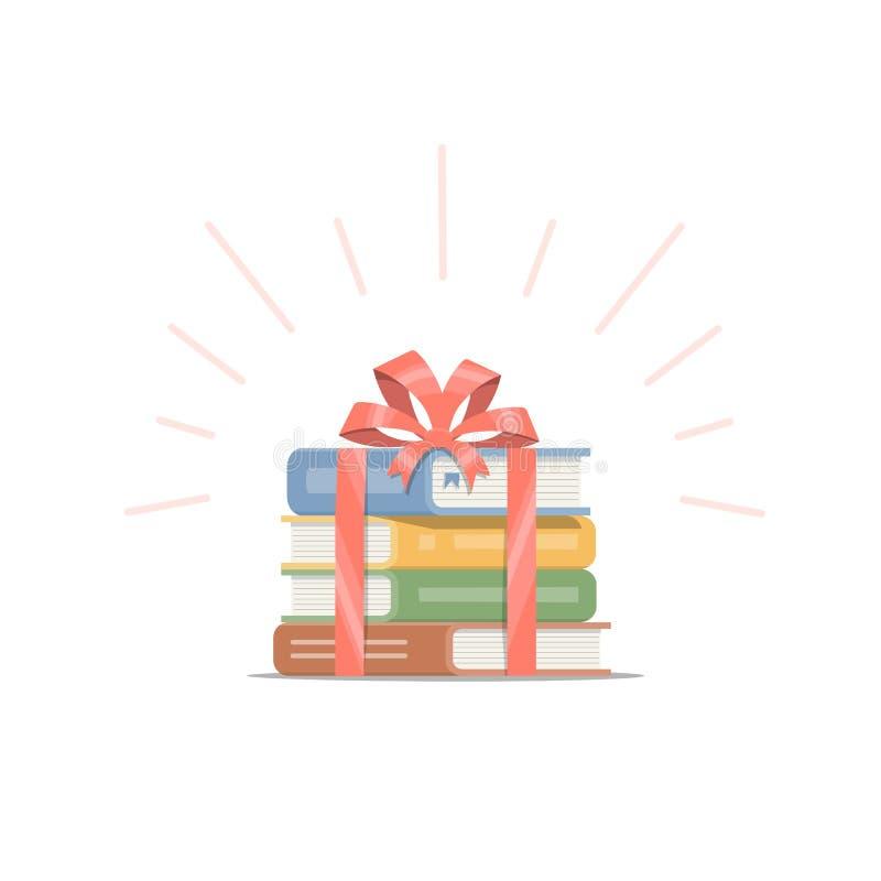 Regalo de libros apilados con la cinta y el arco rojos El diseño de concepto de libro es el mejor presente stock de ilustración