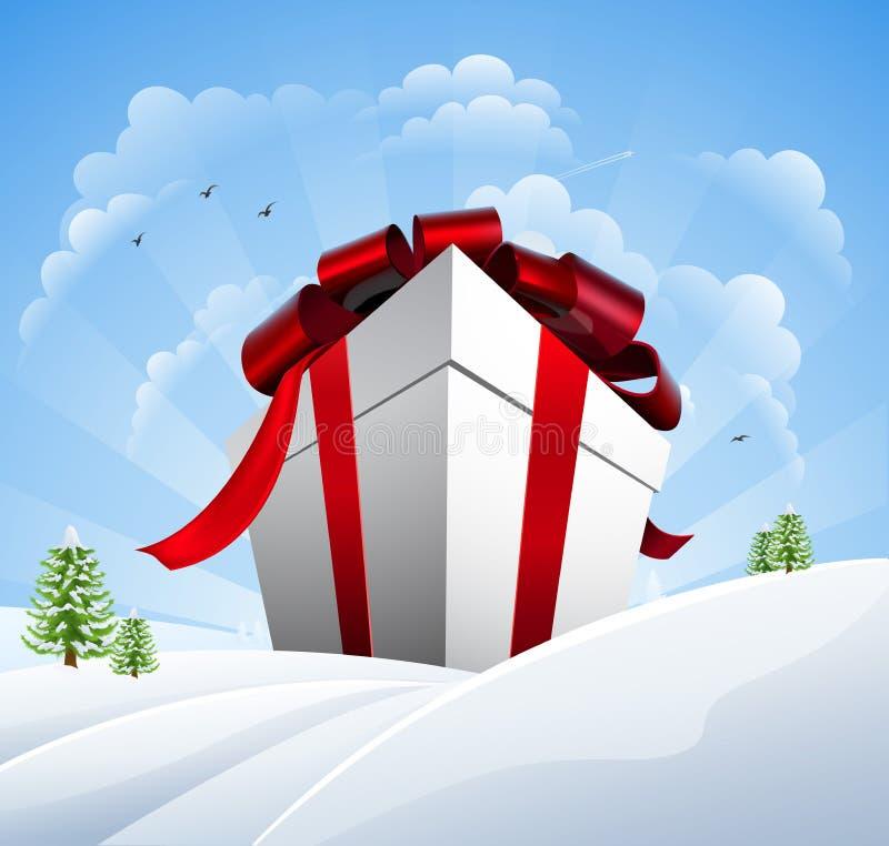 Regalo de Navidad enorme en nieve stock de ilustración