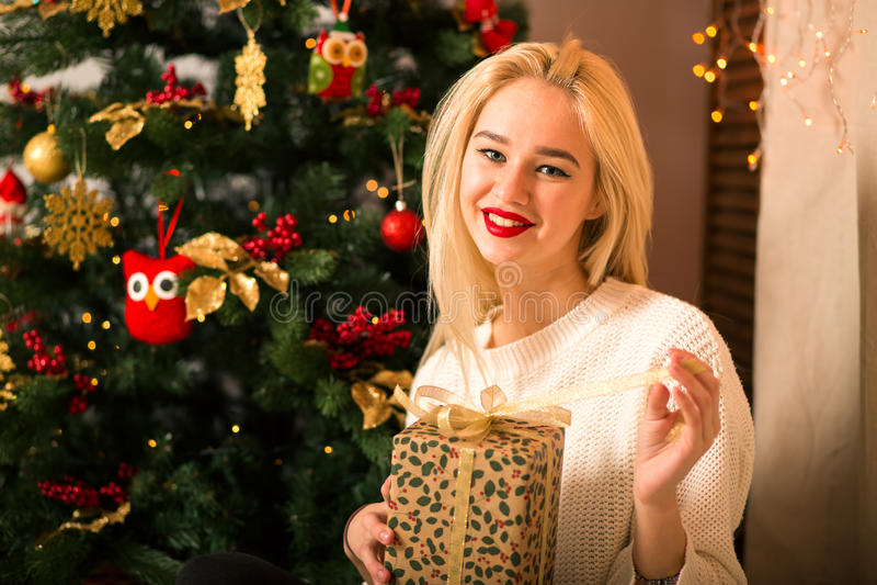Regalo del asimiento del retrato de la mujer joven en estilo del color de la Navidad imagenes de archivo