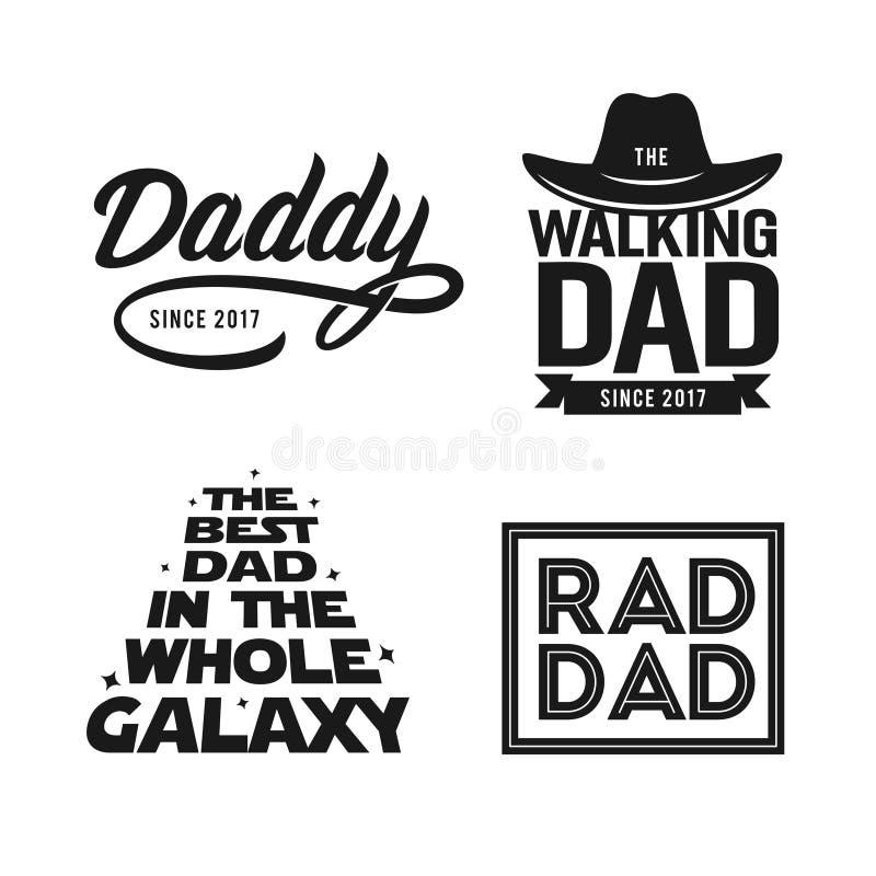 Regalo del día de padres para el sistema del diseño de la camiseta del papá Ejemplo del vintage del vector ilustración del vector
