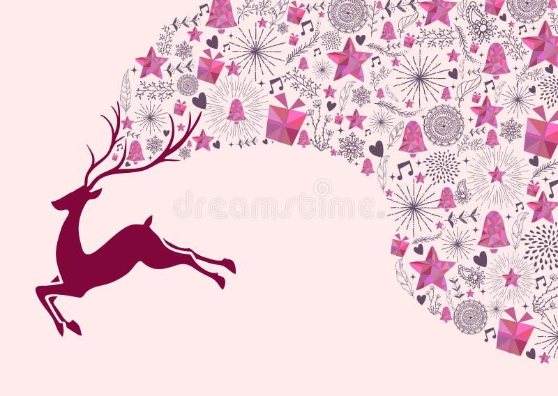 Regalo del fondo de la tarjeta de felicitación de la Navidad del reno libre illustration