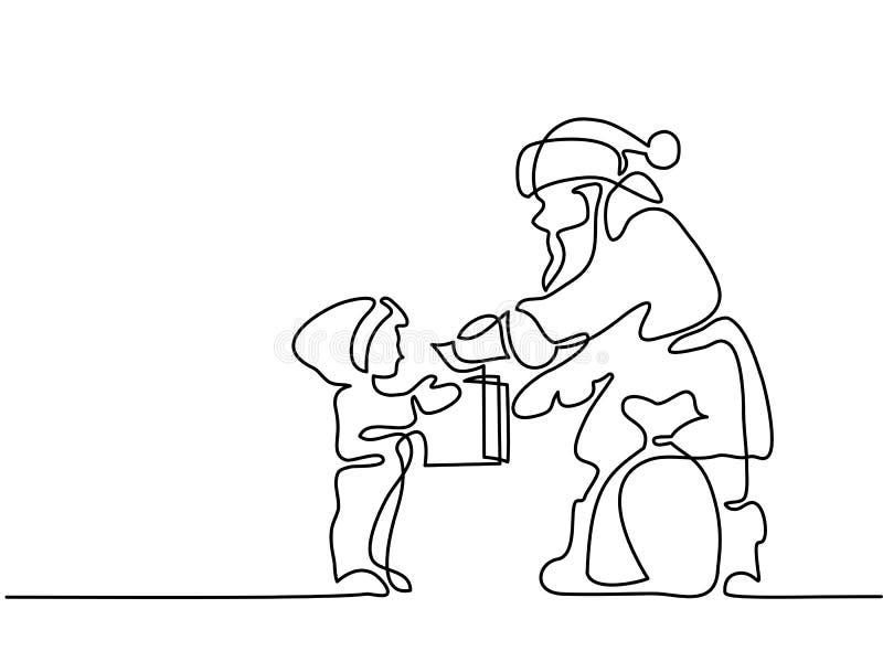 Regalo del presente de Santa Claus al pequeño niño libre illustration