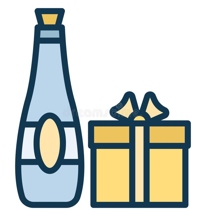 Regalo del vino, icono aislado vino que puede ser modificado o corregir fácilmente en cualquier regalo del vino del estilo, del v stock de ilustración