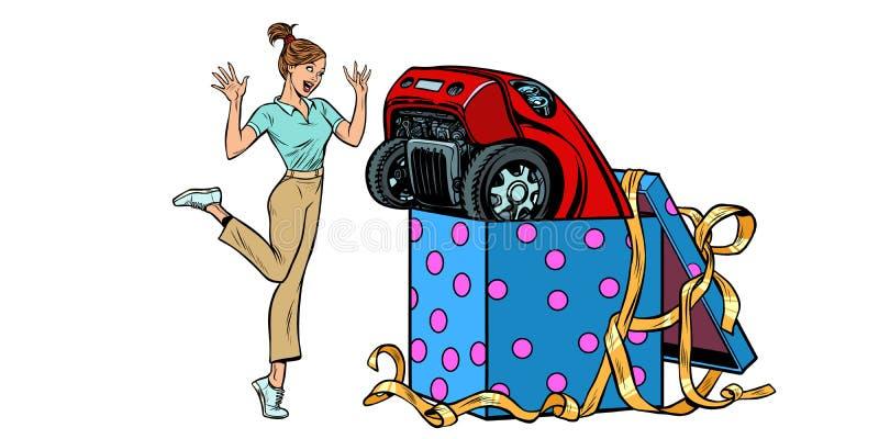 Regalo dell'automobile di sorpresa della donna Isolato su fondo bianco royalty illustrazione gratis