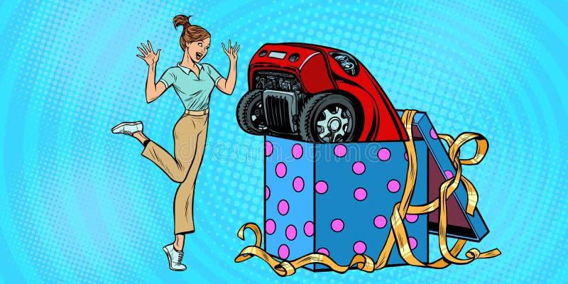 Regalo dell'automobile di sorpresa della donna illustrazione di stock