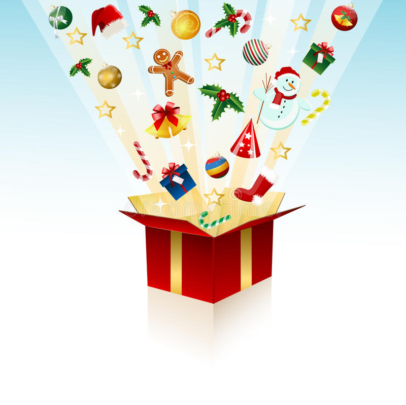 Regalo di Buon Natale, casella illustrazione di stock