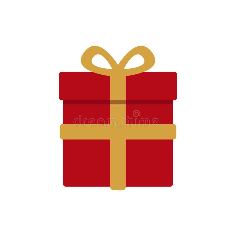 Regalo di natale avvolto rosso con il nastro dell'oro illustrazione di stock