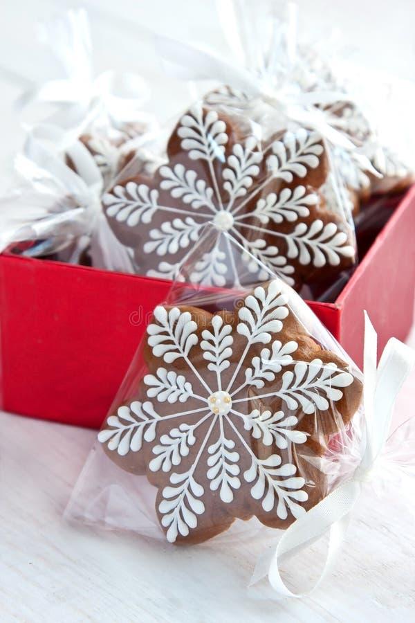Regalo di Natale in contenitore di regalo, biscotti del pan di zenzero fotografia stock