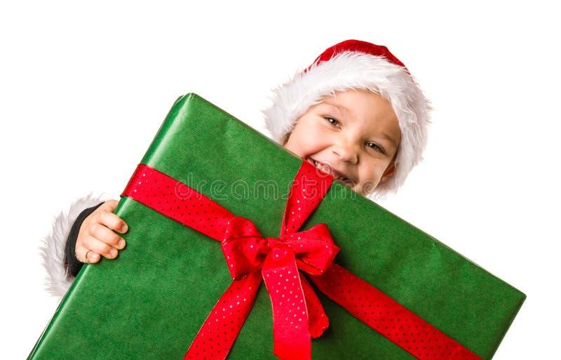 Regalo di Natale e del ragazzo immagine stock