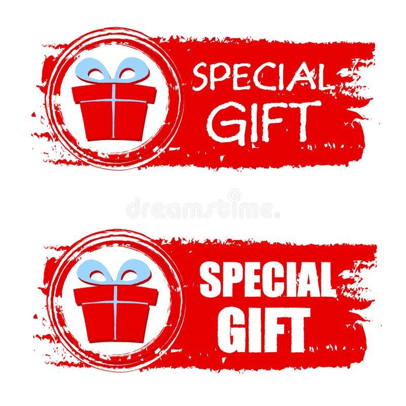 Regalo especial de la Navidad y actual caja en bandera dibujada roja stock de ilustración