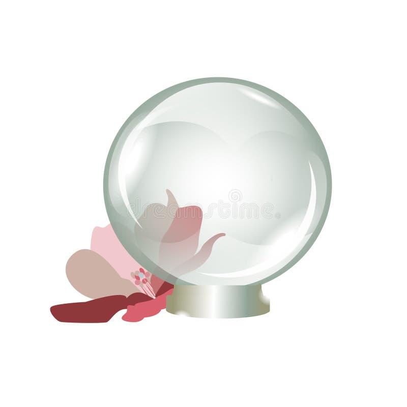 regalo hermoso del recuerdo transparente de la bola de cristal stock de ilustración