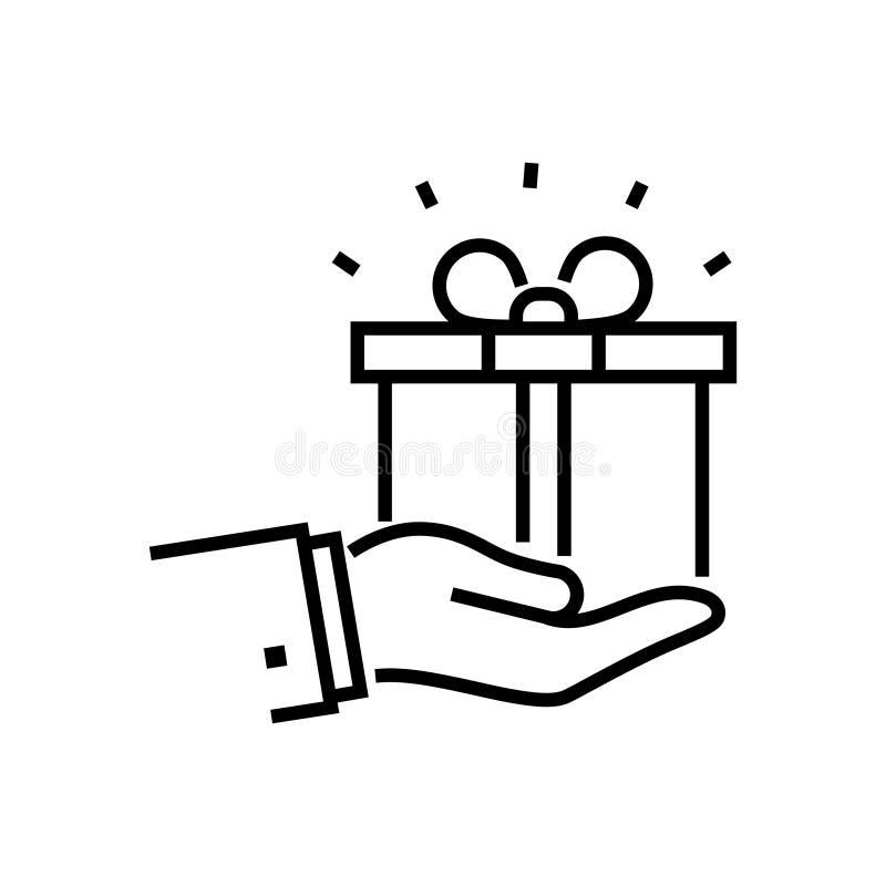 Regalo icona isolata di progettazione della lenza a mano in una singola illustrazione di stock