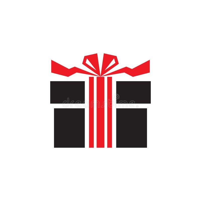 Regalo - icona sull'illustrazione bianca di vettore del fondo nei colori neri e rossi Segno attuale di concetto Elemento di diseg illustrazione vettoriale