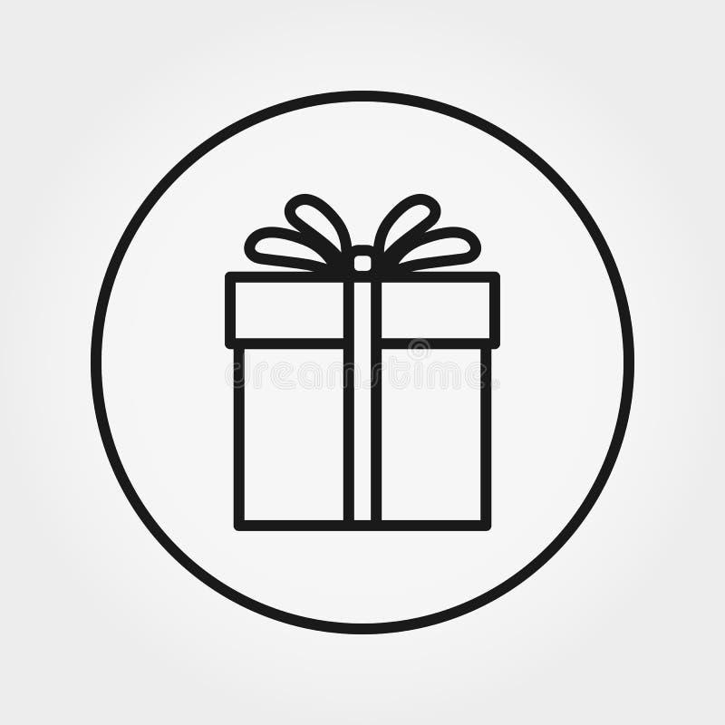 Regalo Icona universale per il web e l'applicazione del cellulare Illustrazione di vettore su un fondo bianco Linea sottile edita illustrazione di stock