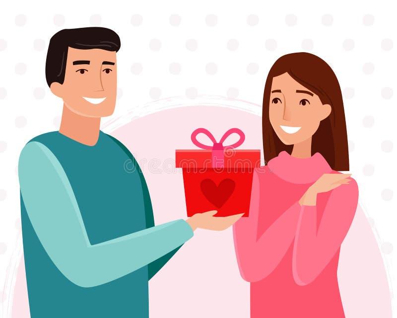 Regalo per caro Uomo e donna nell'amore royalty illustrazione gratis