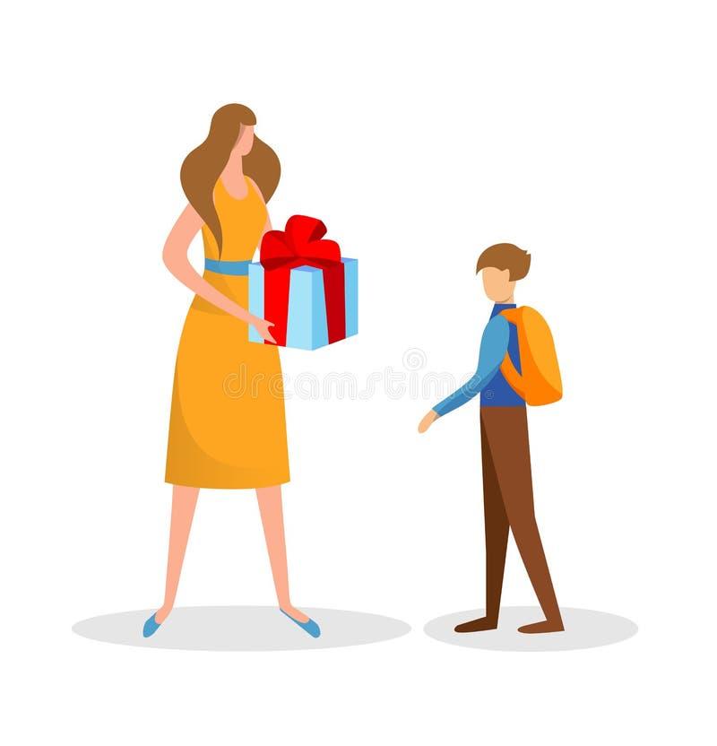 Regalo preparado madre de la sorpresa para el hijo Cumplea?os stock de ilustración