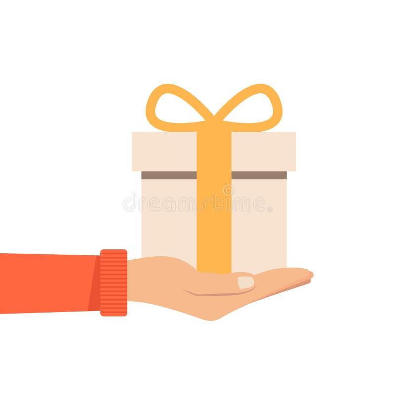 Regalo que se sostiene o de ofrecimiento de la mano con el arco o el presente anaranjado Ejemplo del vector en estilo plano libre illustration