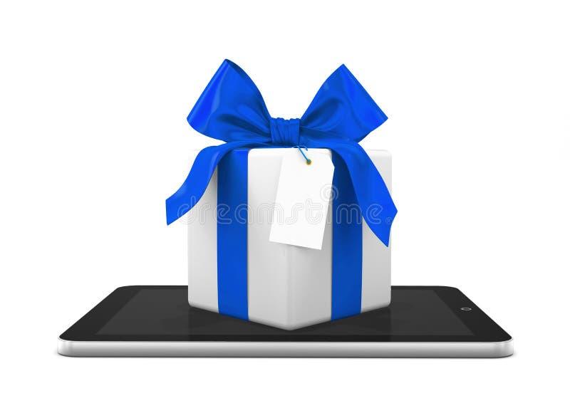 regalo que viene de una tableta ilustración del vector