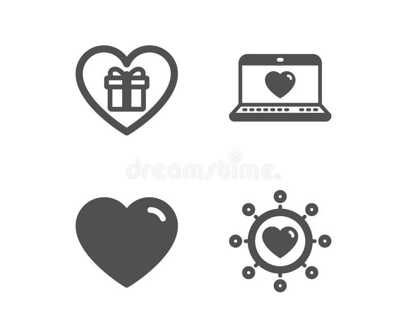 Regalo rom?ntico, iconos del amor del coraz?n y de la web Muestra de la red de la dataci?n Sorpresa con el amor, red social Vecto ilustración del vector