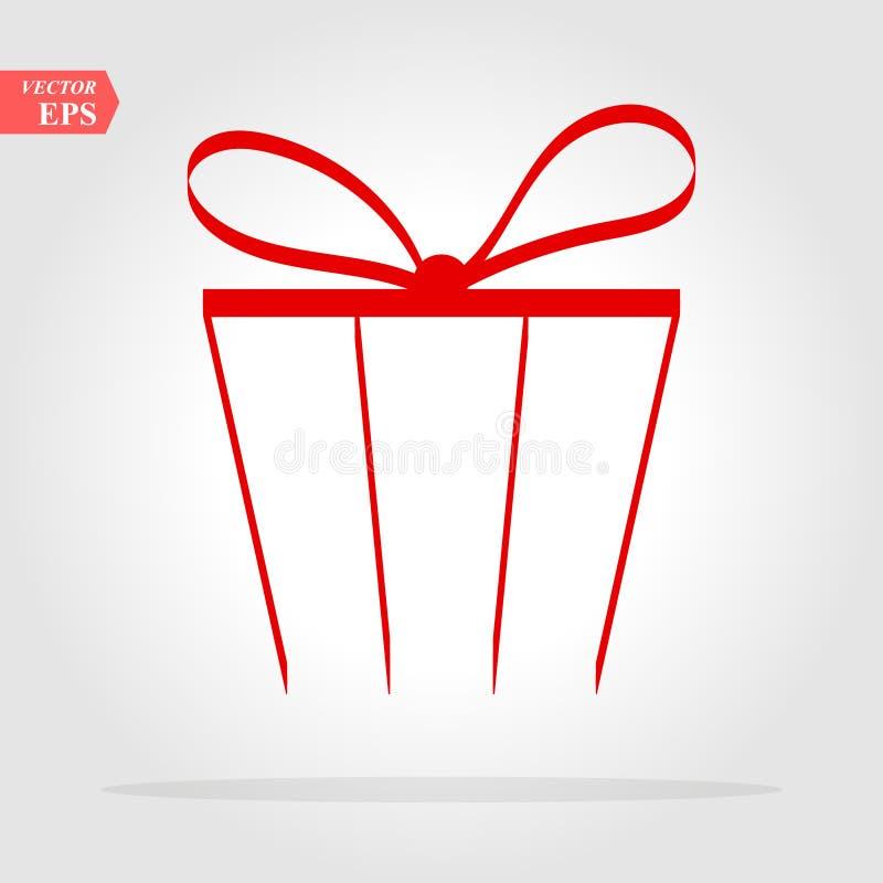 Regalo rosso Icona isolata di vettore, segno, emblema, pittogramma Stile piano per progettazione, il web, il logo o UI EPS10 illustrazione vettoriale