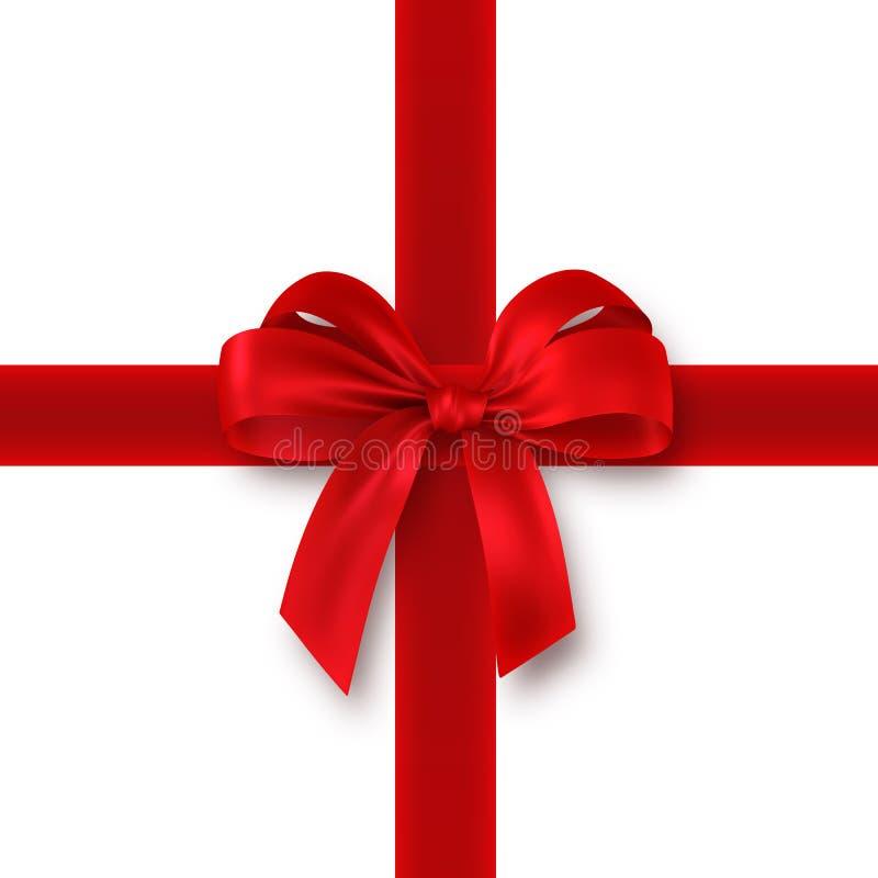 Regalo rosso, nastro, arco illustrazione di stock