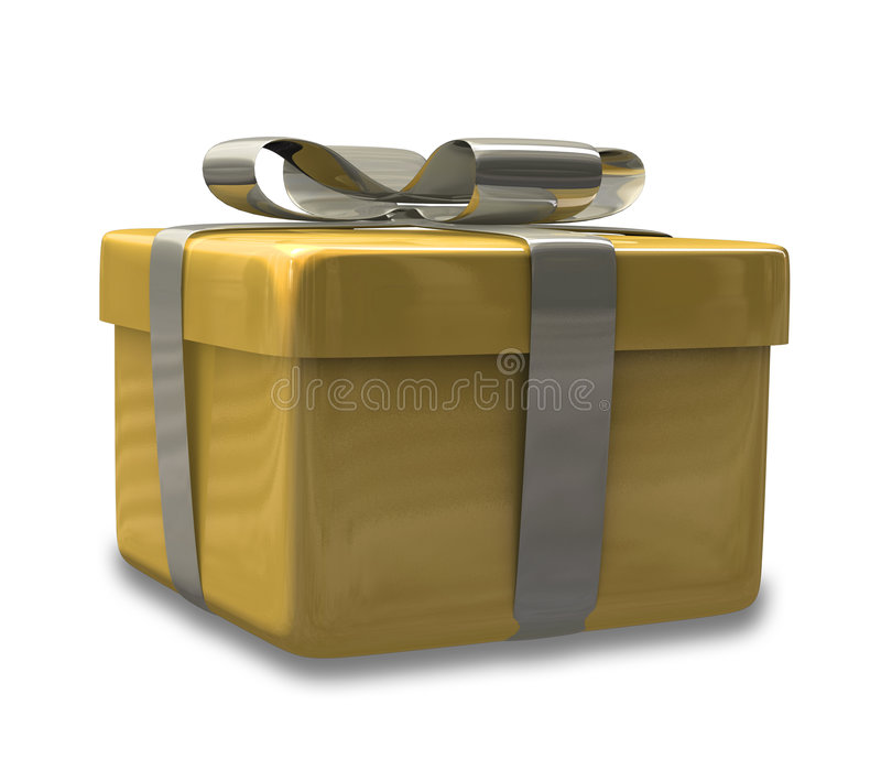 Regalo spostato 3D v2 di colore giallo dell'oro royalty illustrazione gratis
