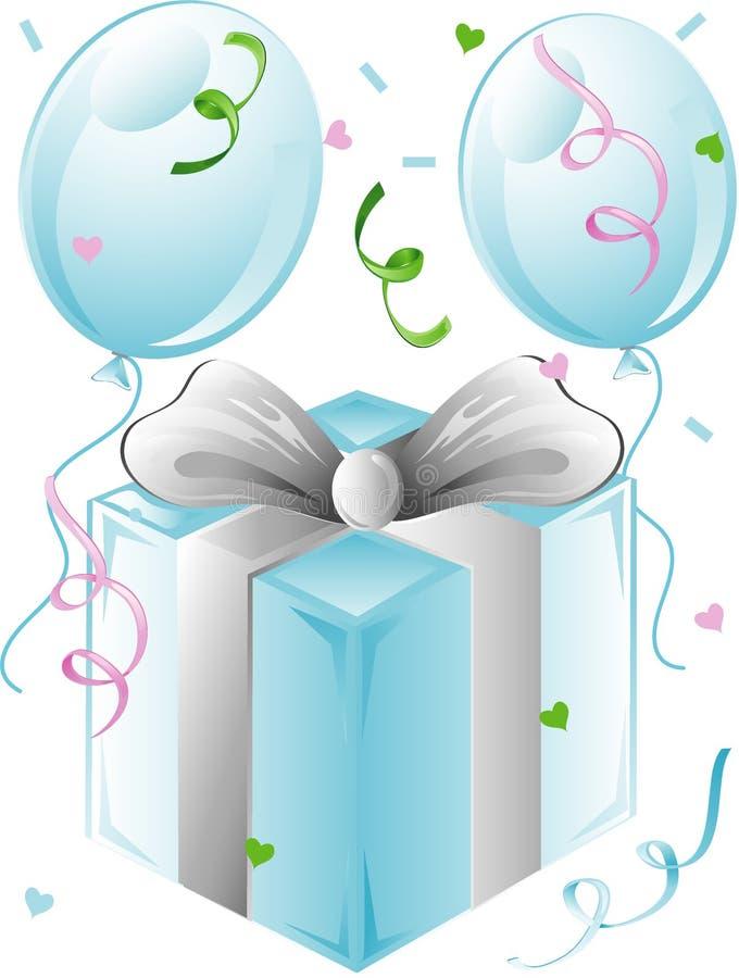 Regalo y globos de boda ilustración del vector