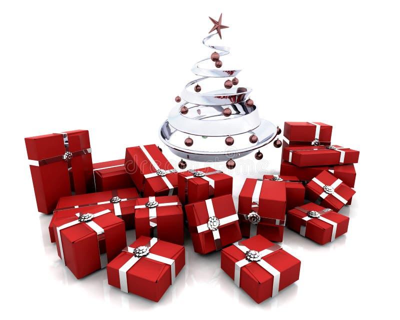 Regalos bajo un árbol de navidad libre illustration