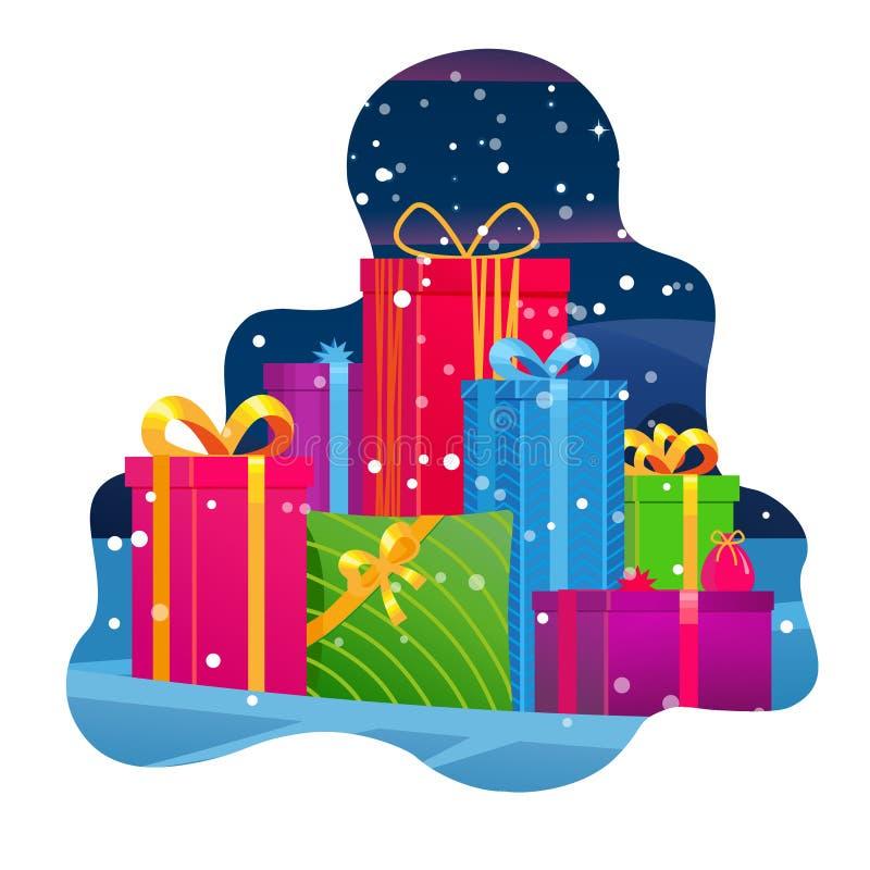 Regalos de la montaña Pila grande de cajas de regalo envueltas coloridas Actual caja hermosa en fondo del invierno Símbolo del re libre illustration