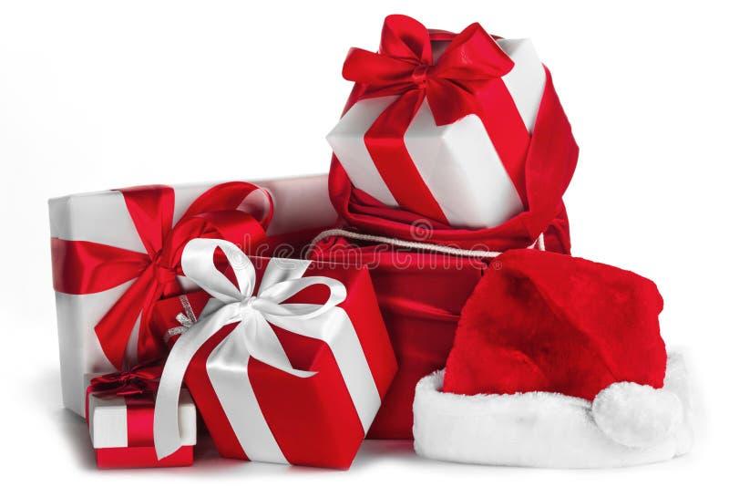 Regalos de la Navidad en blanco imagenes de archivo