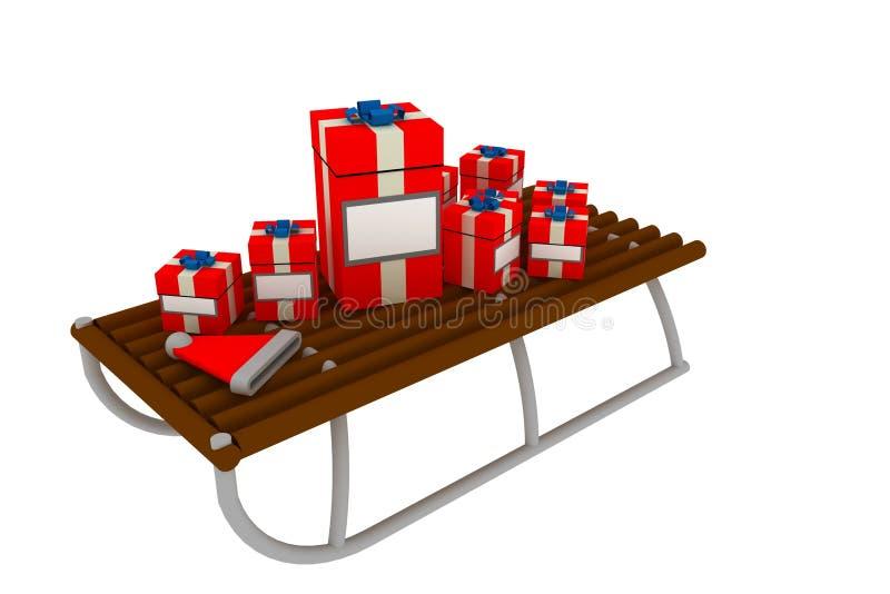 Regalos de la Navidad en el trineo stock de ilustración