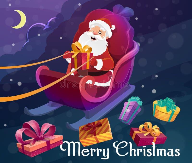 Regalos de la Navidad, Papá Noel en el trineo, cielo nocturno ilustración del vector