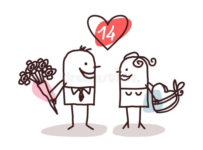 Regalos de los pares y de la tarjeta del día de San Valentín stock de ilustración