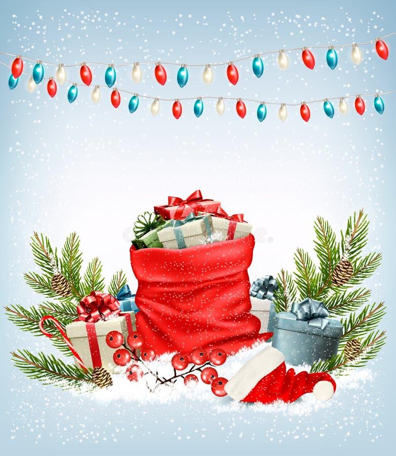 Regalos de Navidad con una guirnalda y un saco por completo de cajas de regalo ilustración del vector