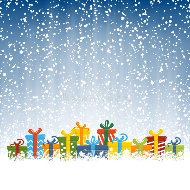 regalos de Navidad delante de la caída de la nieve ilustración del vector