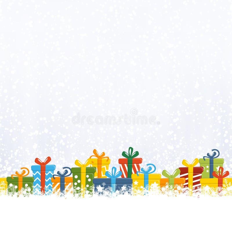 regalos de Navidad delante de la caída de la nieve stock de ilustración