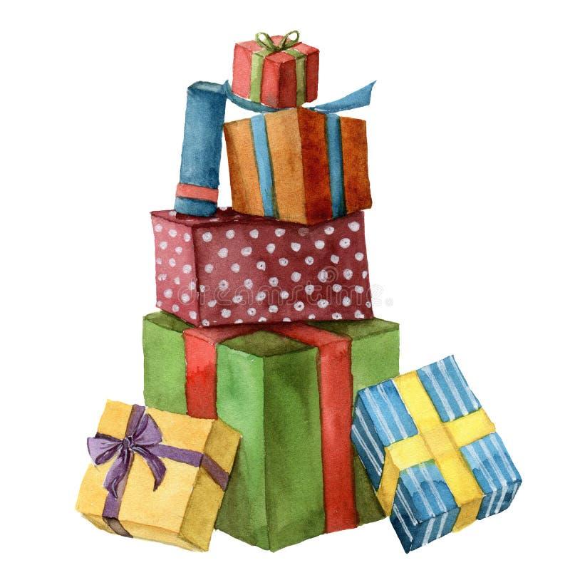 Regalos de Navidad de la acuarela Cajas de regalo brillantes pintadas a mano con la cinta aislada en el fondo blanco Clip art del ilustración del vector
