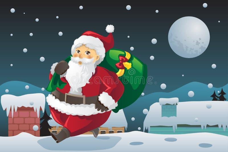 Regalos de Navidad que llevan de Papá Noel stock de ilustración