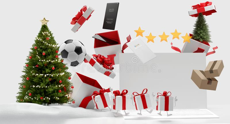 Regalos de Navidad y tiempo 3d-illustration de la pantalla de ordenador stock de ilustración