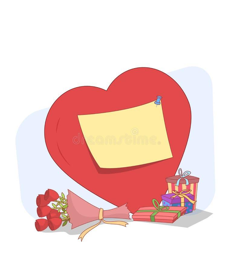 Regalos del día de tarjeta del día de San Valentín stock de ilustración