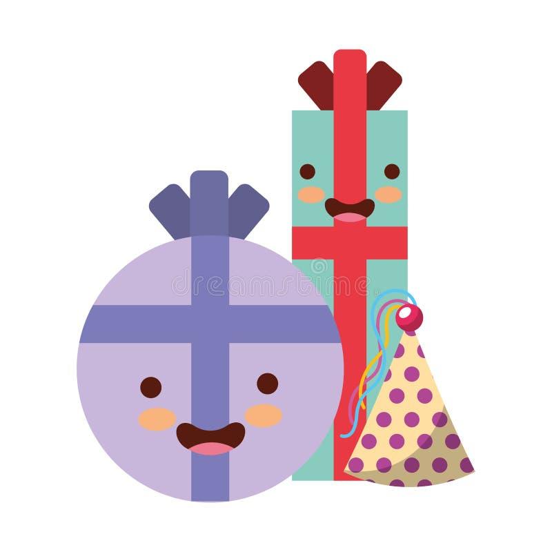 Regalos del kawaii del cumplea?os y sombrero felices del partido stock de ilustración
