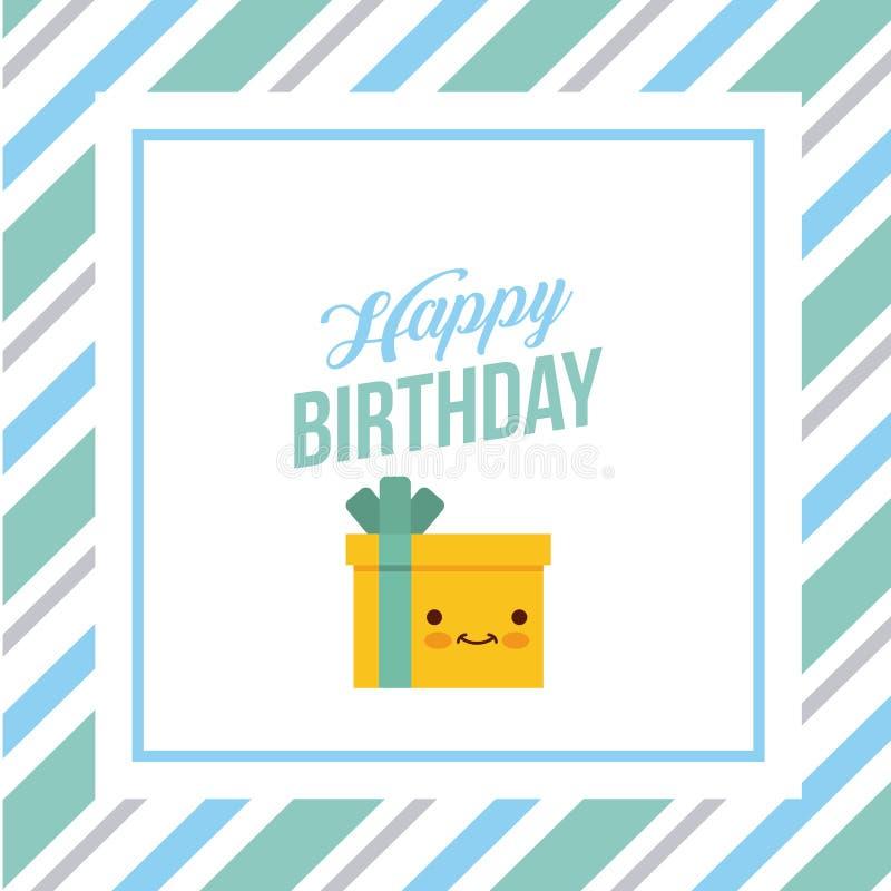 Regalos del kawaii del feliz cumpleaños stock de ilustración