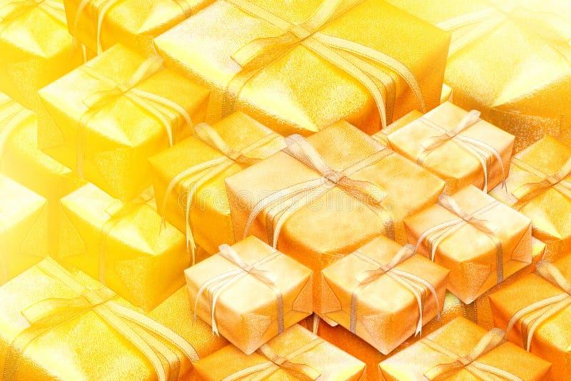Regalos del oro del Año Nuevo en una pila en fondo del oro imágenes de archivo libres de regalías