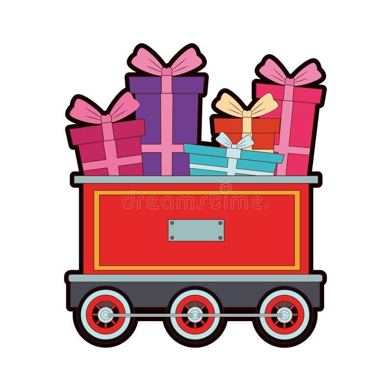 Regalos en el carro del tren libre illustration