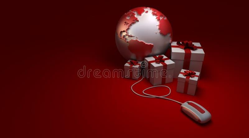 Regalos en línea Atlántico del mundo stock de ilustración